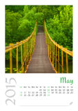 Photo calendar with minimalist cityscape and bridge  2015. May Stock Photography