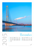 Photo calendar with minimalist cityscape and bridge  2015. November Stock Photography
