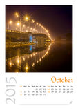 Photo calendar with minimalist cityscape and bridge  2015. October Royalty Free Stock Photos