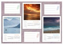 2015 photo calendar with minimalist landscape. 2015 photo calendar with beautiful  landscapes Stock Illustration