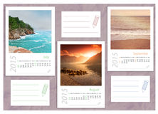 2015 photo calendar with minimalist landscape Royalty Free Stock Photography