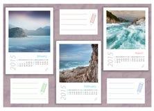 2015 photo calendar with minimalist landscape. 2015 photo calendar with sea landscapes Stock Illustration