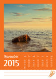 2015 photo calendar. November. Stock Image