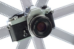 Photo camera. With 35 mm negative strips Stock Images