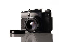 Photo camera. Old russian camera , 35mm film formats , but still working Royalty Free Stock Photography