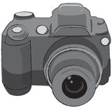 Photo camera. The grayscale photo camera for clip-art Stock Image