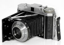 Photo camera. Old vintage photo camera easy to isolate on white bacground Stock Images