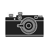 Photo camera black icon. Retro camera black icon on white background. Flat vector cartoon illustration. Objects isolated Stock Photo