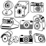 Photo camera black icons. Outlined vector illustration of photo camera black icons, old and modern royalty free illustration