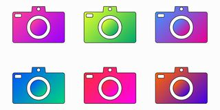 Photo camera bright purple,blue,pink,green gradient app icon - Vector set. Photo camera bright purple,blue,pink,green gradient app icon. Trendly style gradient royalty free illustration