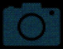 Photo Camera Composition Icon of Halftone Bubbles. Halftone Photo camera collage icon of circle bubbles in blue color tones on a black background. Vector bubble Stock Image