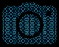 Photo Camera Composition Icon of Halftone Spheres. Halftone Photo camera composition icon of circle bubbles in blue shades on a black background. Vector circle Royalty Free Stock Image
