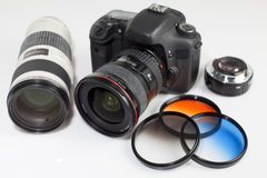 Photo camera equipment Stock Photography