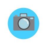 Photo camera flat icon. Round colorful button, circular vector sign, logo illustration Stock Photos