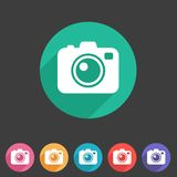 Photo camera flat icon Royalty Free Stock Photos