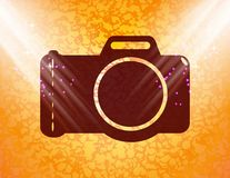 Photo camera. Flat modern web button and space for Royalty Free Stock Photo