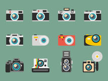 Photo camera flat vector icons Stock Image