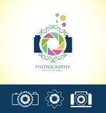 Photo camera floral logo Stock Photography