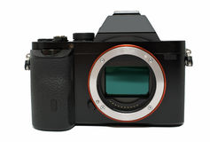 Photo camera. Full frame mirrorless photo camera royalty free stock photo