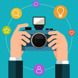 Photo camera in hand. Flat style Royalty Free Stock Photo
