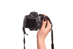 Photo camera in hand Stock Photo