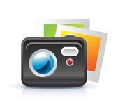 Photo camera icon. With photo frames Stock Images