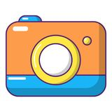 Photo camera icon, cartoon style. Photo camera icon. Cartoon illustration of photo camera vector icon for web design Royalty Free Stock Image