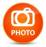 Photo (camera icon) elegant orange round button Stock Image