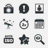 Photo camera icon. Flash light and Auto ISO. Stock Photography