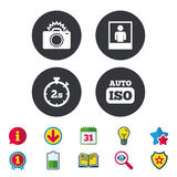 Photo camera icon. Flash light and Auto ISO. Royalty Free Stock Images
