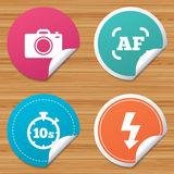 Photo camera icon. Flash light and autofocus AF. Stock Image