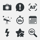Photo camera icon. Flash light and autofocus AF. Photo camera icon. Flash light and autofocus AF symbols. Stopwatch timer 10 seconds sign. Attention vector illustration
