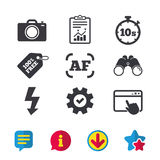 Photo camera icon. Flash light and autofocus AF. Photo camera icon. Flash light and autofocus AF symbols. Stopwatch timer 10 seconds sign. Browser window stock illustration