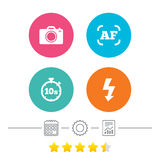 Photo camera icon. Flash light and autofocus AF. Photo camera icon. Flash light and autofocus AF symbols. Stopwatch timer 10 seconds sign. Calendar, cogwheel stock illustration