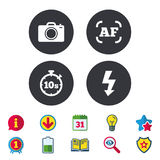 Photo camera icon. Flash light and autofocus AF. Photo camera icon. Flash light and autofocus AF symbols. Stopwatch timer 10 seconds sign. Calendar, Information vector illustration
