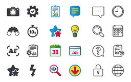 Photo camera icon. Flash light and autofocus AF. Photo camera icon. Flash light and autofocus AF symbols. Stopwatch timer 10 seconds sign. Chat, Report and Royalty Free Stock Image