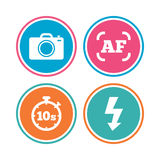 Photo camera icon. Flash light and autofocus AF. Royalty Free Stock Image