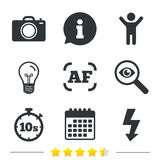 Photo camera icon. Flash light and autofocus AF. Royalty Free Stock Photos