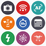 Photo camera icon. Flash light and autofocus AF. Wifi, mobile payments and drones icons. Photo camera icon. Flash light and autofocus AF symbols. Stopwatch vector illustration