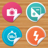 Photo camera icon. Flash light and exposure. Stock Photos