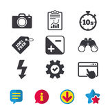 Photo camera icon. Flash light and exposure. Photo camera icon. Flash light and exposure symbols. Stopwatch timer 10 seconds sign. Browser window, Report and stock illustration