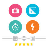 Photo camera icon. Flash light and exposure. Photo camera icon. Flash light and exposure symbols. Stopwatch timer 10 seconds sign. Calendar, cogwheel and report vector illustration