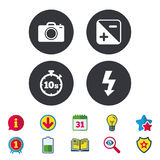 Photo camera icon. Flash light and exposure. Photo camera icon. Flash light and exposure symbols. Stopwatch timer 10 seconds sign. Calendar, Information and stock illustration