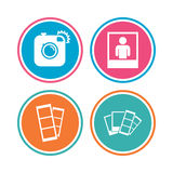 Photo camera icon. Flash light and selfie frame. Stock Images