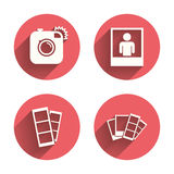 Photo camera icon. Flash light and selfie frame Stock Photography