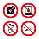 Photo camera icon. Flash light and selfie frame Royalty Free Stock Photo
