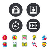 Photo camera icon. Flash light and video frame. Royalty Free Stock Images