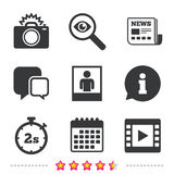 Photo camera icon. Flash light and video frame. Stock Image