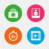 Photo camera icon. Flash light and video frame. Royalty Free Stock Photography