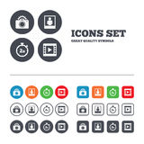 Photo camera icon. Flash light and video frame Royalty Free Stock Photos